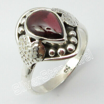 925 STAMPED Solid Silver GARNET Ancient Style Ring Size 9 ! Gift For Mother