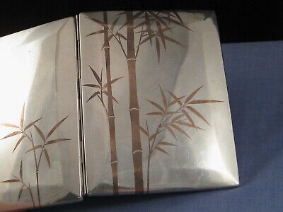 Japanese Bamboo Aesthetic Silver Antique Cigarette Business Card Case Pocket Box