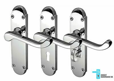 Polished Chrome Door Handles LEVER LATCH, LOCK or BATHROOM 168mm Long RICHMOND