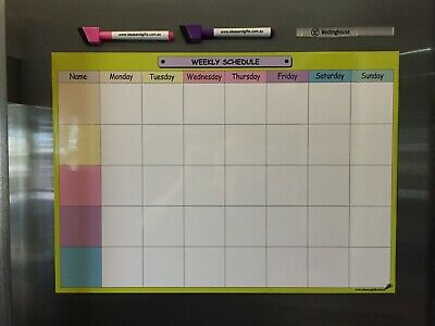 A3 Weekly Schedule Daily Organiser Office Planner Magnetic Fridge Whiteboard +2p