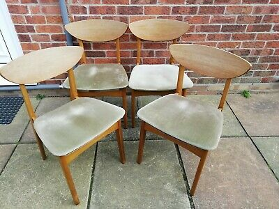 Vinage Retro Mid Century Teak Danish Style Dining Chairs x 4