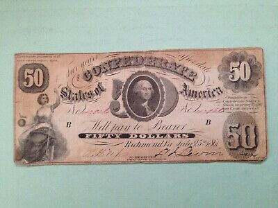 Confederate Currency T 8 1861 Fifty Dollar Note Bill