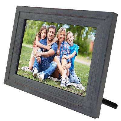 """Life Made Digital Touch-Screen 13"""" Picture Frame with Wi-Fi -Vintage Wood- MFRB"""