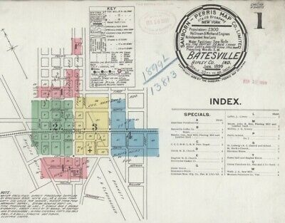 Batesville, Indiana~Sanborn Map©~made in 1892, 1899 color images~7 maps