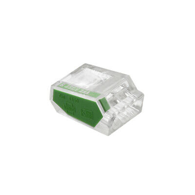 Push-In Electrical Wire Connectors 18-14 Awg 3-Port 450V Clear Green 10 Pcs
