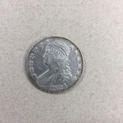 1824 CAPPED BUST HALF DOLLAR NICE  AU-----priced just reduced!!