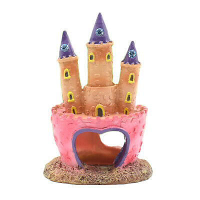 Aquarium Fish Tank Decoration Ornament Pink Princess Castle Fish Cave