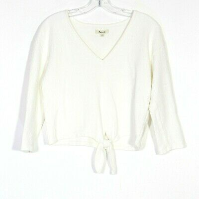 64f21c5af5e30 MADEWELL Womens Ivory Textured Long Sleeve Tie Front Top H7993 Size Small  EUC