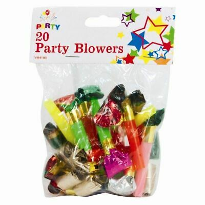 20 x Party Blowers MIXED COLOURS Birthday New Year Noise Loot party bag UK