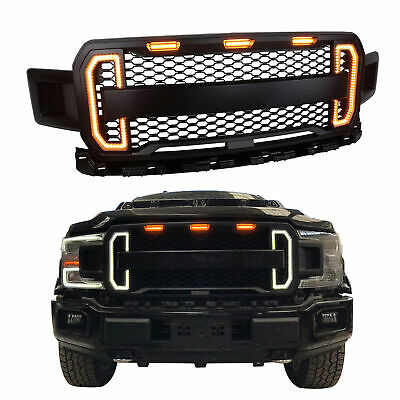 2018 The Newest Style Black Front Grille With Amber Lights DRL For Ford F-150