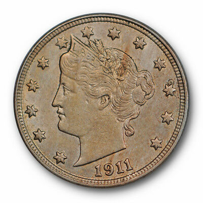 1911 Liberty Head Nickel Uncirculated MS Mint State Common Date #66