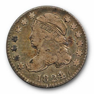 1824 Capped Bust Dime Very Good VG 1824/2 Better Date US Coin #5813