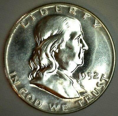 1952 Silver Franklin Proof Half Dollar Coin 50c Fifty Cents 50c No.1