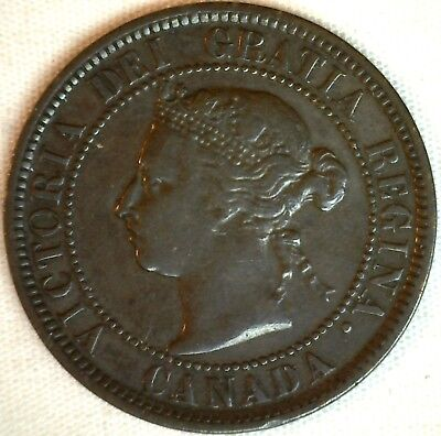 1884 Copper Canadian Large Cent One Cent Coin Very Fine #19
