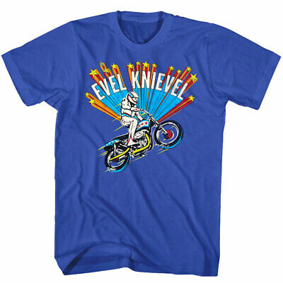 OFFICIAL Evel Knievel Shooting Stars Motorcycle Jump Men's T Shirt Stunt Bike
