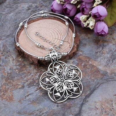 Women Ethnic Style Exquisite Necklace Hollow Out Flower Shape Pendant Gift 6L