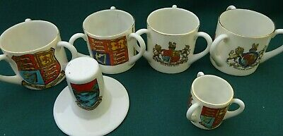 6 Pieces of Goss Crested China - Royal Themes & Welsh Hat