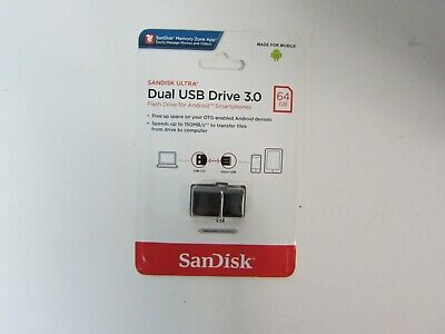 Sandisk Ultra Dual USB Drive 3.0 Flashdrive for Android 64GB SDDD2-064G-A