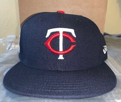 b258aab3d6a40 Nwot Minnesota Twins New Era 59Fifty 2017 Postseason Navy Fitted Hat Size 7  1 4