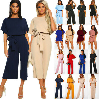 UK Womens Short Sleeve Wide Leg Trousers Playsuit Evening Party Culotte Jumpsuit