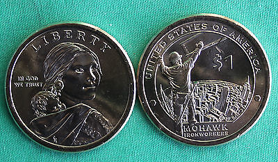 2015 P and D Sacagawea Dollar BU 2 Coins Native American Mohawk Iron workers UNC