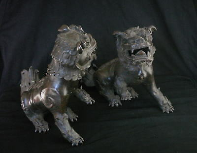 Very Large Antique Chinese Bronze Lions