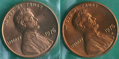 1976 P and D Lincoln Cent 2-Coin from US Mint Set UNC Cello One Cent Penny Set