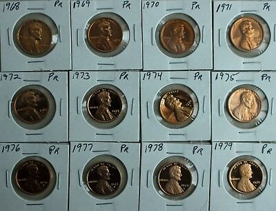 1968 S thru 1979 S Proof Lincoln One Cent 12 Coin Lot Set Penny Collection 1c