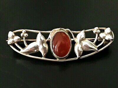 Antique Arts & Crafts Silver & Carnelian Brooch - Rose Gold Pin to Back - c.1900