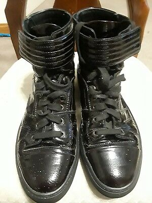 3c19a26328 BLACK VERSACE COLLECTION High-Top Patents Leather Sneakers 44 US 10 ...