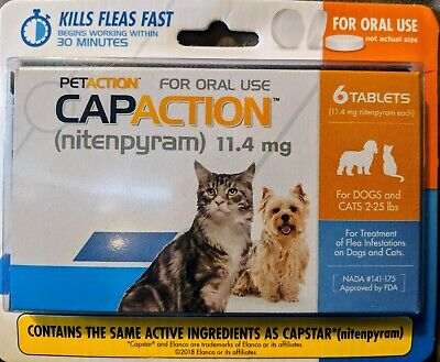 PetAction CapAction for Dogs Cats 2-25lbs Flea Treat compare to Capstar 6Tablets