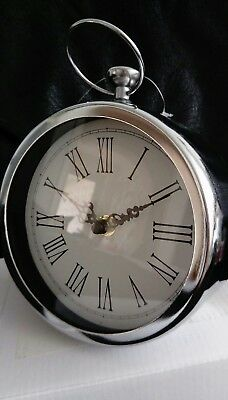 Small Silver Chrome Round Wall Clock Time NEW