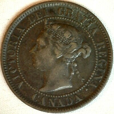 1884 Copper Canadian Large Cent One Cent Coin Very Fine #16