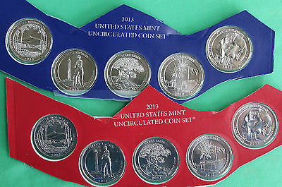 2013 10 BU 25c Coins P and D America the Beautiful UNC Quarters ATB PARKS