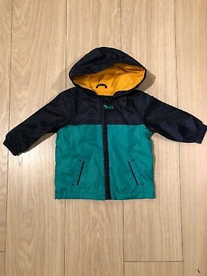 Mothercare Navy Green Mustard Rain Jacket Age 9-12 Months Brand New