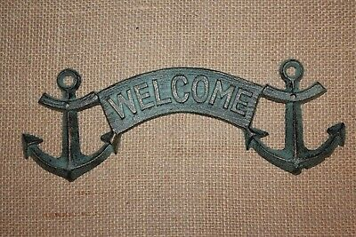 (2)pc, VINTAGE LOOK NAUTICAL WELCOME SIGN, ANCHOR DECOR, WELCOME, CAST IRONBL-43