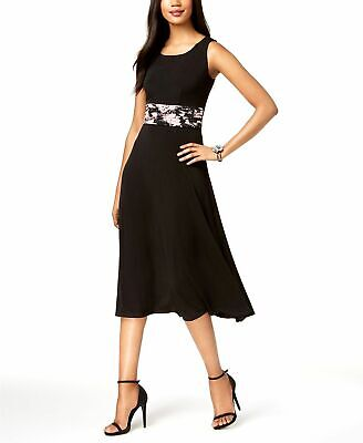 d9bfeee00506d $309 Jessica Howard Women's Black Pink Floral A-Line Midi Cocktail Dress  Size 12