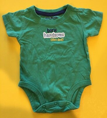 """GUC! """"born handsome (like Dad)"""" Baby Boys Graphic Bodysuit Shirt 3 Months Green"""