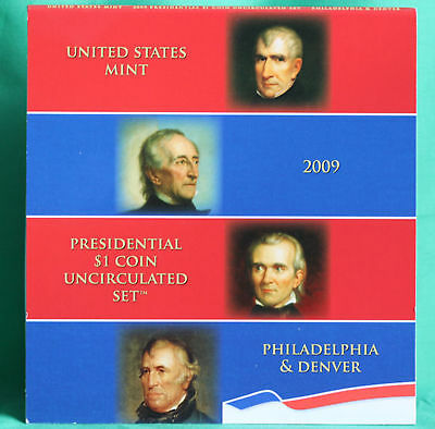 2009 Presidential $1 Coin Uncirculated Set 8 Golden BU Dollars US Mint SEALED