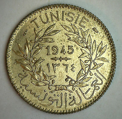 1945 Tunisia 2 Francs Coin AU
