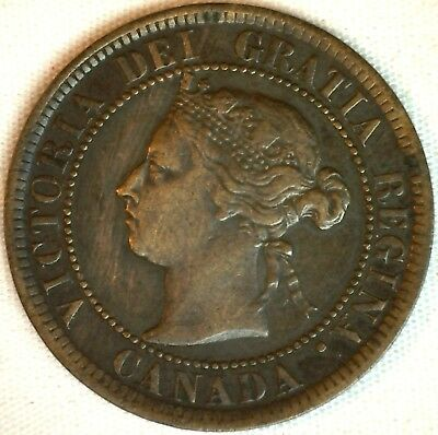 1884 Copper Canadian Large Cent One Cent Coin Very Fine #32