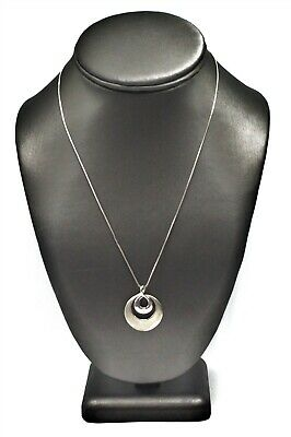 925 Sterling Silver Diamond Dual Open Circles Pendant Necklace TT3584