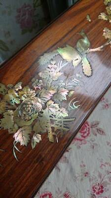 SUBLIME ANTIQUE FRENCH MOTHER OF PEARL INLAID BOUDOIR BOX c1880 BIRDS BUTTERFLY
