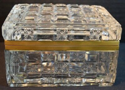 Vintage Cut Crystal (Glass) Brass Mounted Box