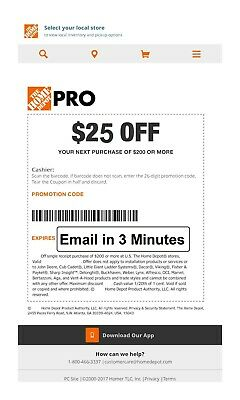 1x-ONE Home Depot $25 off $200Coupon In-Store Only--FAST-SEND_3mins--