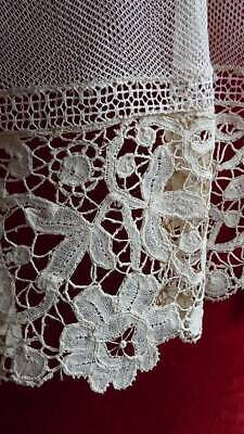 SWEET ANTIQUE FRENCH PETITE TAPE LACE & TULLE CURTAIN OR PANEL c1880