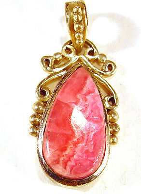 "Rhodochrosite sterling silver pendant, 1 7/8"" long, weight  13.19 grams"