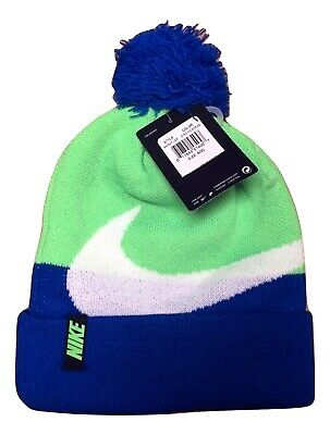 Nike Swoosh Logo Hat PomPom Blue & Lime Knit Beanie Youth Boys 8-20 NWT Winter