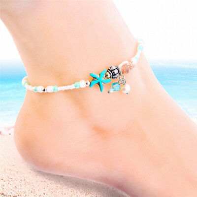 Starfish Shell Beach Foot Chain Conch Sandal Anklets Beads Bracelet Jewelry