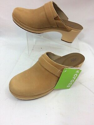 a43297026 NEW CROCS WOMENS Sarah Leather Clog Tan Suede Mule Size 11 Standard ...